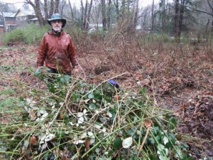 A drenched Jim Palmer standing beside one of the piles of Himalayan Blackberry and other invasive plants that were pulled out of the lot at 1st and Willemar on 10 Apr. Photo by K Clouston