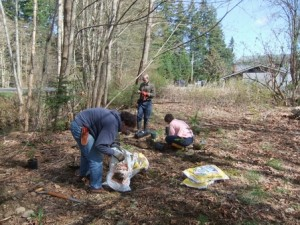 Our intrepid volunteers had a much better day when they returned on 16 Apr to put in native plants to fill out the lot and, hopefully, prevent the invasive plants from moving back in. Photo by K Clouston